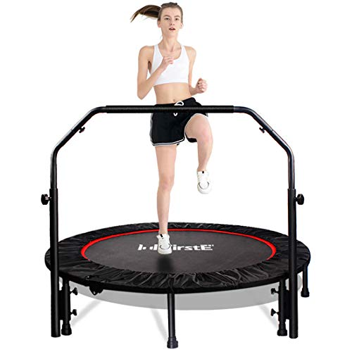 FirstE 48  Foldable Fitness Trampolines, Rebound Recreational Exercise Trampoline with 4 Level Adjustable Heights Foam Handrail, Jump Trampoline for Kids and Adults Indoor&Outdoor, Max Load 440lbs