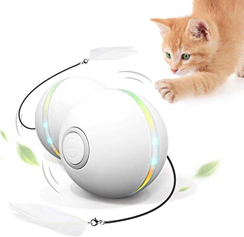Feeko Interactive Cat Toys for Indoor Cats, Automatic Rolling Kitty Toys, Build-in Catnip Spinning Color Led Light, USB Charging Timing Motion Ball with Feather/Bells Toys for Cats/Kitten (White)