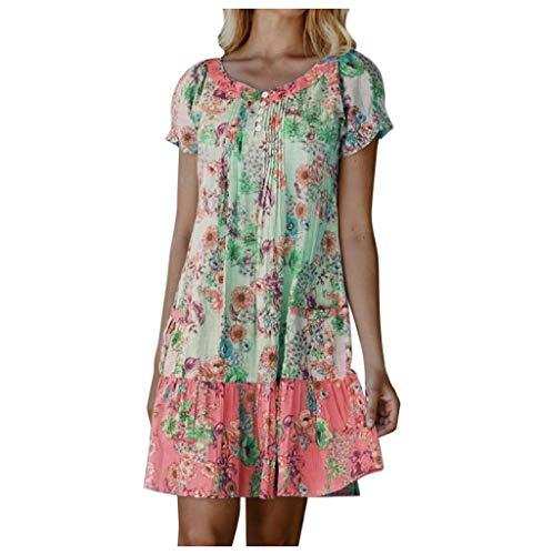 Tomatoa Damen Sommerkleider Kurzarm Strandkleid Rundhals Shirtkleider Bohemian Freizeitkleider Frauen Kleider Große Größe Minikleid S - 3XL