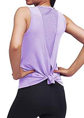 Mippo Workout Tops for Women Mesh Yoga Tops Workout Clothes Sleeveless High Neck Open Back Workout Shirts Tie Back Running Tank Tops Loose Fit Exercise Sports Gym Tops for Women Purple M