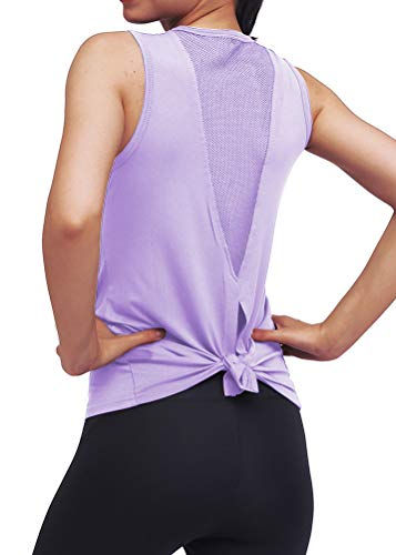 Mippo Womens Workout Tops Athletic Yoga Tops for Women Mesh Running Tank Tops Workout Tanks Tennis Shirts Gym Summer Clothes Activewear for Women Purple M