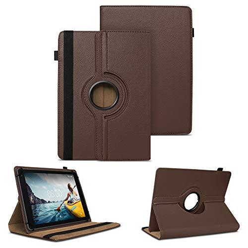 NAUC Tablet Schutzhülle kompatibel für Medion LifeTab P8502 Hülle Tasche Standfunktion 360° Drehbar Cover Universal Hülle, Farben:Braun