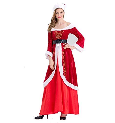 Dames Kerstman Kerst Kostuum, Kerstman Kostuum, Hoed + Jurk + Riem, Kerstmis Verjaardagscadeau voor Vrienden en Vrouwen (Gratis Grootte),