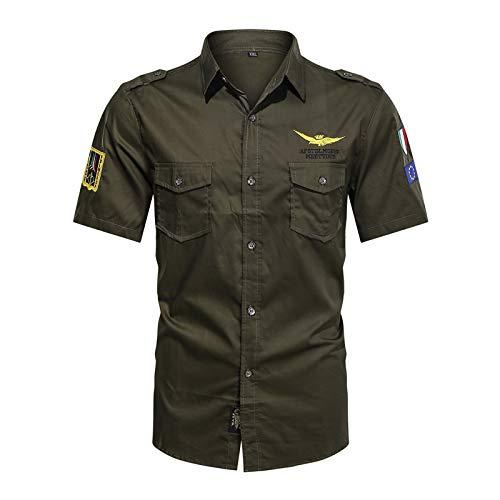 Camisa de Manga Corta con Solapa de Verano para Hombre, Camisa de Base Delgada con Bordado de Personalidad Informal de Gran tamaño XXL