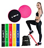 """BUNDLE [5 Resistance Bands and Core Slider] –5 resistance bands (12"""" x 2"""") are made with 100% natural latex (Odor-free & Eco-Friendly). Dual core sliders (7"""" in diameter) are made with one side fabric, other side plastic. They glide on hardwood or ti..."""