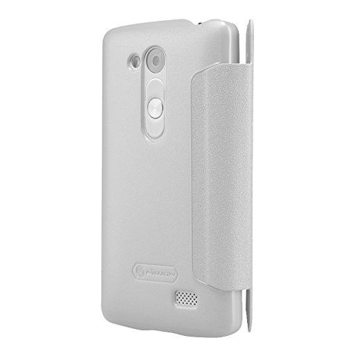 Nillkin LGD295-Sparkle-White glänzende Leder Tasche für LG L Fino D295 weiß