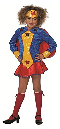 narrenkiste W3260-152-A - Disfraz de supergirl para niña, color azul, amarillo y rojo, talla 152