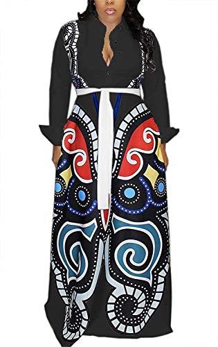 Aro Lora Women's African Print Deep V Neck 3/4 Sleeve High Slit Dashiki Long Maxi Dress
