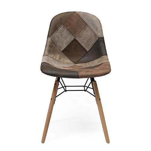 Homely - Silla de Comedor tapizada en Patchwork BONIE inspiración Silla Tower