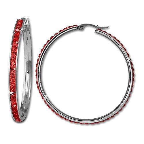 Amello Edelstahl Creolen Damen Swarovski Elements Ohrringe rot 50mm D3ESOS05R Edelstahl Ohrschmuck für die Frau