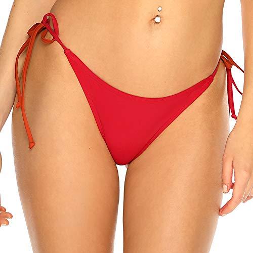 RELLECIGA Moda Mare Donna Slip Bikini a Perizoma con Laccetti Rosso M/L