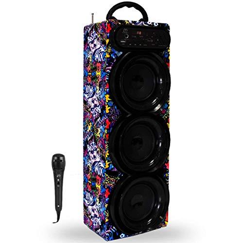 Music Life Altavoz Karaoke Bluetooth Portátil con Micrófono Inlámbrico USB Tarjeta TF Recargable con Radio FM (293-1)