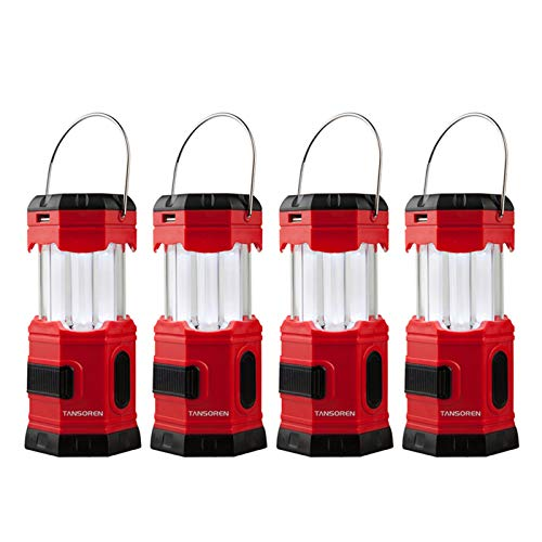 """TANSOREN 4 Pack Portable LED Camping Lantern Solar USB Rechargeable or 3 AA Power Supply, Built-in Power Bank Compati Android Charge, Waterproof Collapsible Emergency LED Light with """"S"""" Hook"""