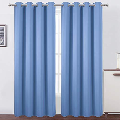 LEMOMO Sky Blue Thermal Blackout Curtains/52 x 84 Inch/Set of 2 Panels Room Darkening Curtains