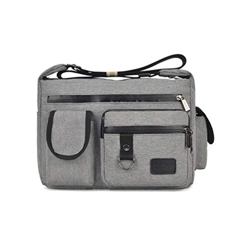 Women Casual Shoulder Bag Multi Pockets Water-Resistant Everyday Pack Nylon Travel Purses and Handbags(Grey)