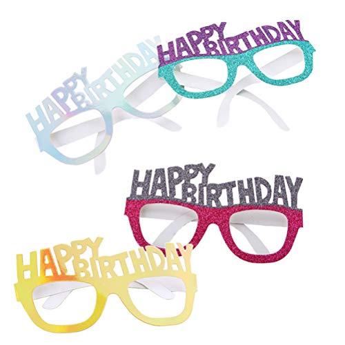 BESTOYARD 4pcs Lustige Geburtstag Brille Party Papier Brillen Dekoration Requisiten Weihnachtsbrillen