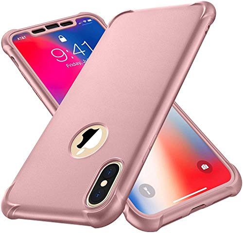 "ORETech Compatibile con Cover iPhone Xs Max, Custodia iPhone XS MAX con[2xPellicola Protettiva Vetro Temperato]Antiurto Ultra Sottile Hard PC TPU Silicone Anti Graffio per iPhone xs max 6.5""- Oro Rosa"