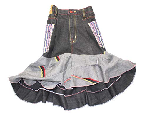 DBC Denim Skirt - High Fashion Coogi Jean Skirt for Women (Size 10, Blue) - One of a Kind Upcycle Design - Sustainably Made