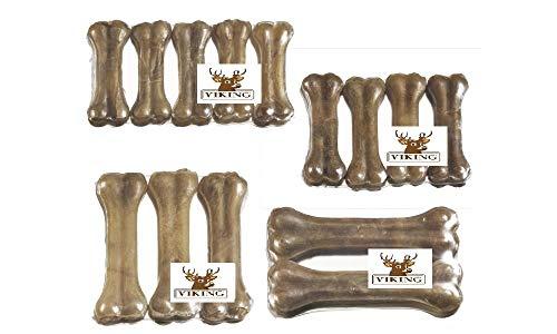 LEO PET Viking Rawhide Knochen 10 cm aus Rindsleder 100 % Natural Packung mit 4 Stück 120 g