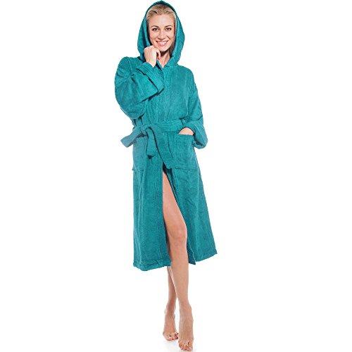klassischer Bademantel für Damen & Herren | viele Farben alle Größen | Morgenmantel Baumwolle Frottee mit Kapuze | Föhr aqua-textil 1000355 | türkis M