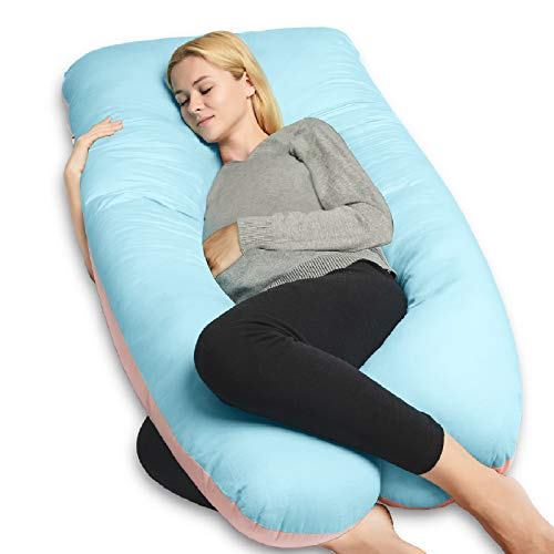 QUEEN ROSE Pregnancy Pillow(2 Sideds)-U Shaped Maternity Body Pillow with Cooling Cover