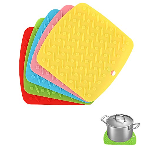 Nuovoware Silicone Trivet Mats,5 Pack Heat Insulated Hot Pan Pot Holders Squared Drying Mat Table Placemats for Non-slip Jar Opener, Oven Mitts and Coasters - Colorful