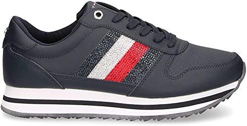 Tommy Hilfiger Damen Tommy Retro Crystal Sneaker, Blau (Midnight 403), 40 EU