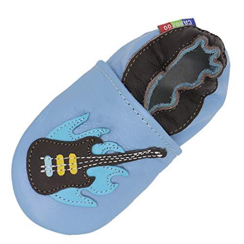 Carozoo Weiche Sohle Leder Baby Kinder Hallenschuhe Prewalker (16 Designs), Blau - Gitarre hellblau - Größe: 3-4 Jahre