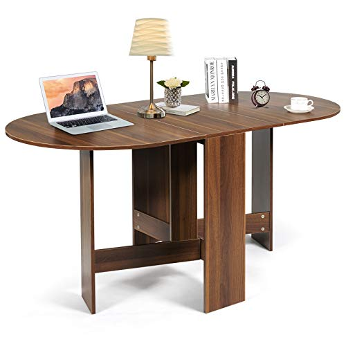 TANGZON Drop Leaf Dining Table, Wooden Folding Workstation for Small Space, Foldable PC Laptop Table Extending Desk for Dining, Studying and Working, Brown
