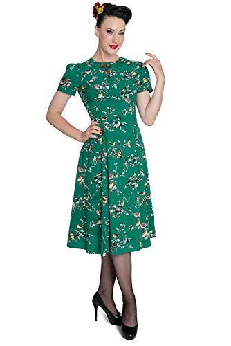 Hell Bunny Birdy 40s 50s Tea Party Pin Up Landgirl WW2 Retro Vintage Style Dress (S, Green)