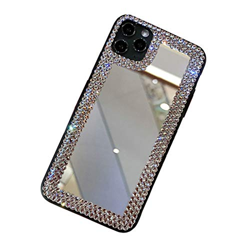 OcaseQ Funda Brillo para iPhone 12/12 Pro/12 Pro MAX Cárcasa de Maquillaje Glitter Bling Mirror con Diamantes de Imitación Ultrafina Suave TPU Anti Choque Back Cover,Plata,XS