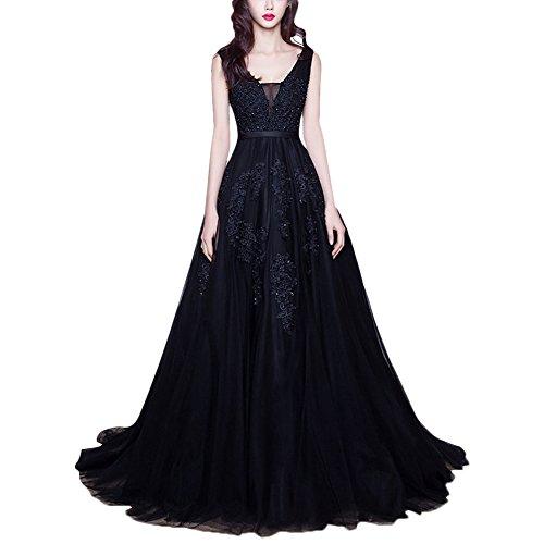 IBTOM CASTLE - Elegante vestido de noche sexy para mujer, escote en V, sin mangas, espalda descubierta, vestido de dama de honor, fiesta de cóctel, vestido de baile, EU 34 – 56 Negro 44