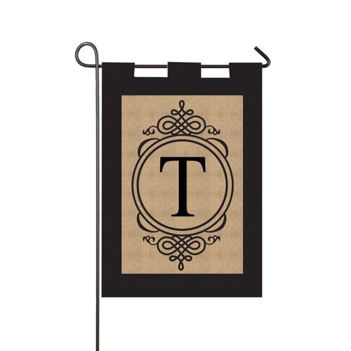 "Evergreen Flag Monogram T Burlap Double Sided Garden Flag 18"" x 12.5"" Connecticut"