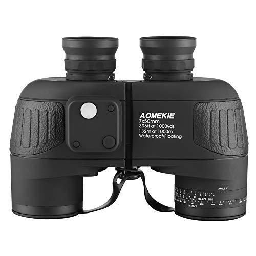 Aomekie Fernglas mit Nachtsicht Entfernungsmesser Kompass 7X50 Wasserdicht BAK4 Grünen FMC Ferngläser Feldstecher für Kinder Erwachsene mit Tasche und Gurt