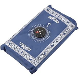 Ebest - 102 x 64cm Muslim Prayer Rug with Compass. Pocket Size Portable Prayer Mat Eid Gift Praying to Mecca