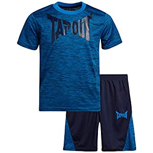 TapouT Boys' Active Shorts Set – Short Sleeve T-Shirt and Gym Shorts Performance Kids Clothing Set (2 Piece)