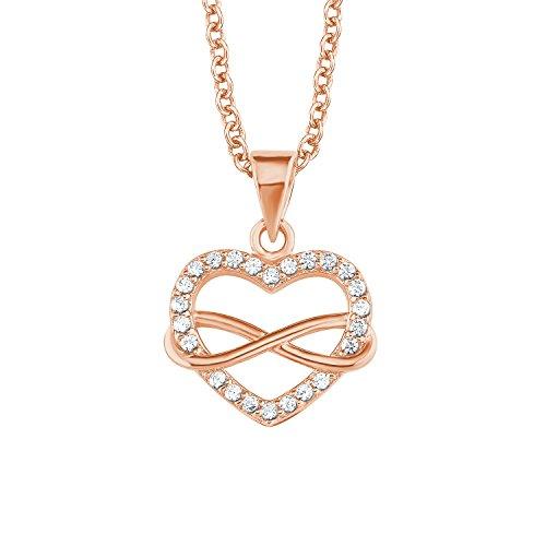 s.Oliver Kette mit Anhänger für Damen Infinity, 925er Sterling Silber rosévergoldet