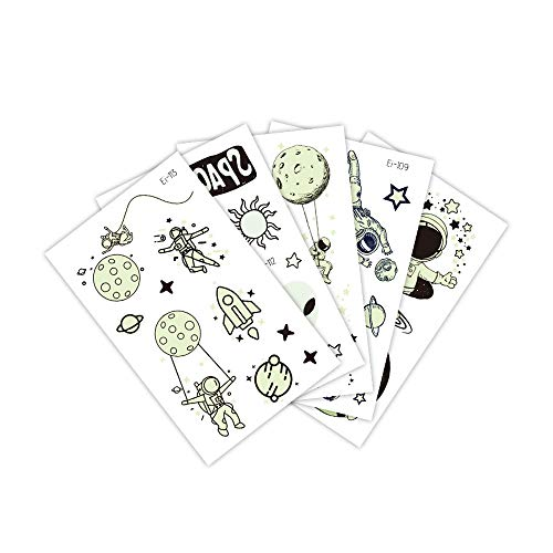 9 hojas de pegatinas de tatuaje espacial,planetas de dibujos animados para niños,tatuajes temporales luminosos,pegatinas impermeables para tatuajes faciales y corporales,para fiestas de cumpleaños