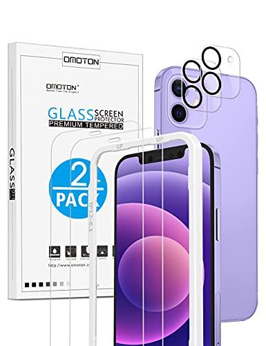 OMOTON Schutzfolie für iPhone 12 mit Schablone-Installationshilfe + iPhone 12 Kamera Panzerglasfolie, [2+2 Stück], [Anti- Kratzer], [Bläschenfrei], [9H Härte], [HD-Klar]