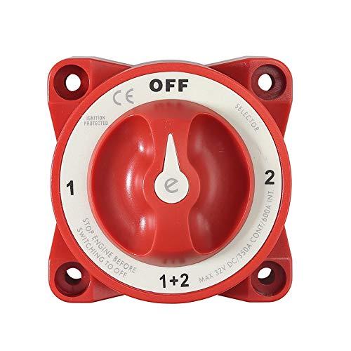 Interruptor Marino con Aislador de Batería Dual Interruptor de Batería de 4 Posiciones 350 Amp 12V Protección Contra Ignición Terminal Latón