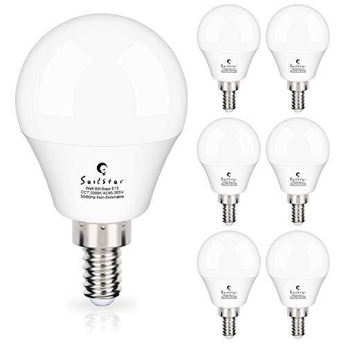 Sailstar Candelabra LED Light Bulbs 60-Watt Equivalent, Daylight White 5000K, E12 Candelabra Base, 6 Watt A15 LED Bulbs for Ceiling Fan, Vanity Mirror Light   6-Pack