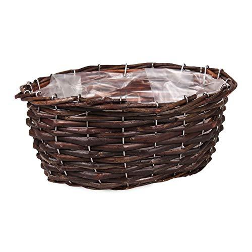 Tintours Panier pour pot de fleurs / panier pour plantes / pot de fleurs en osier avec film plastique 27 x 21 x 10 cm