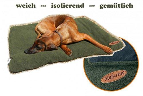 Hundebett Faserpelz mit Thermofüllung HUBERTUS Reise-Hundedecke grün