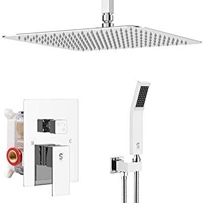 SR SUN RISE 16 Inches Matte Black Shower Set System Bathroom Luxury Rain Mixer Shower Combo Set Ceiling Mounted Rainfall Shower Head Faucet (Contain Shower Faucet Rough-In Valve Body and Trim)
