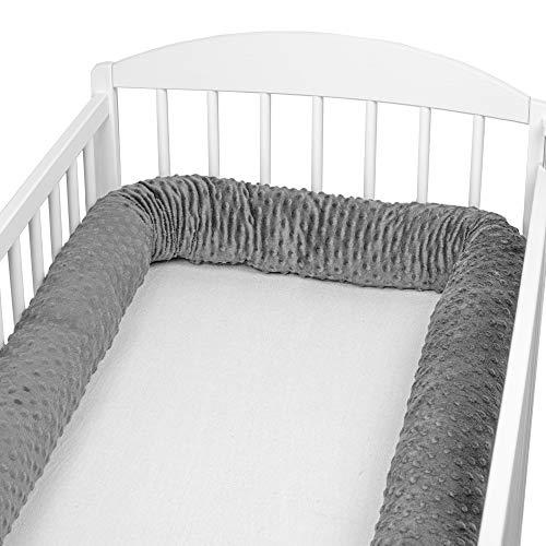 Bettschlange baby Nestchenschlange Bettrolle - Bettumrandung Babybettschlange Babybett umrandungen Babynestchen für Kinderbett (Dunkelgrau Minky, 300 cm)