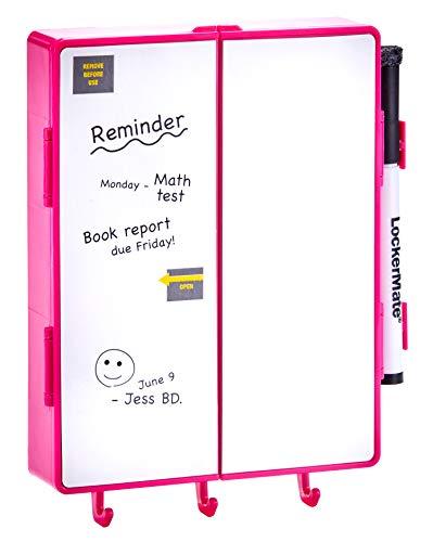 LockerMate Magnetic Locker Vanity, Whiteboard and Mirror with Light, Pink