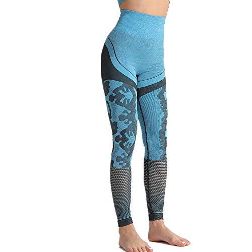 NA Die hohe Taillen-nahtlose Yoga-Hosen Der Frauen leeres Sexy Eignungs-Hosen-Gamaschen-LaufenBlauS