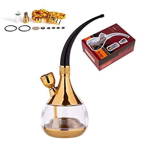 Hongchao narghilè tabacco portatile, tabacco per narghile da shisha, Fumare la Pipa Acqua le Tabac Sigaretta la Pipa Narghilè Mini portatile Set completo (oro)