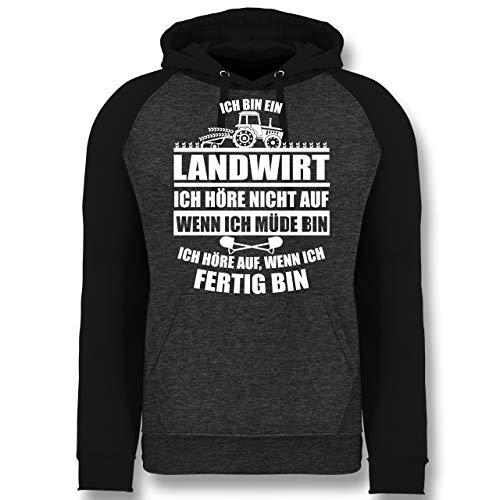 Shirtracer Landwirt - Ich Bin EIN Landwirt - XL - Anthrazit meliert/Schwarz - Pullover bauernsprüche - JH009 - Baseball Hoodie