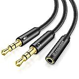 POSUGEAR Adaptador Jack Micro y Auriculares, Adaptador Auriculares Nylon Cable Splitter Divisor Audio 3.5 mm Jack Hembra a Doble Macho para Gaming Headset, PC o Laptop